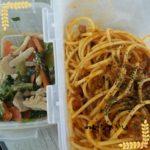 ミートスパゲッティ弁当、ほうれん草のオムレツ弁当