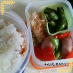 トマトビーフシチュー弁当、玄米の大判ブレットとトマトサラダの弁当