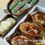 3種のオープンサンドと巻き巻きサラダ弁当、フレンチトースト弁当、野菜たっぷりナポリタン弁当、煮卵カレー弁当
