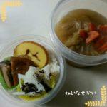 のっけもり弁当とロールキャベツスープ。寒い日は温かいものを食べて身体を内側からも温める。